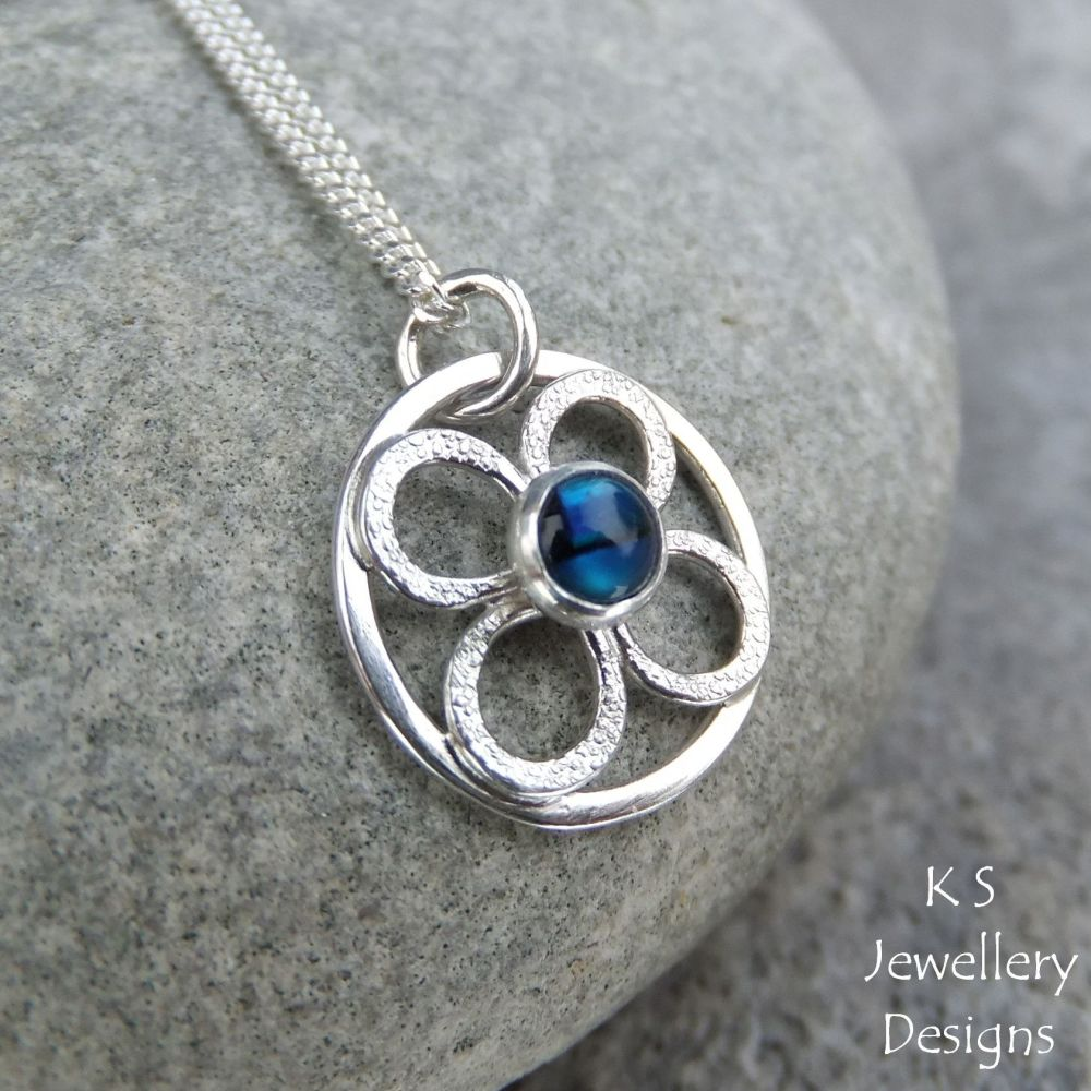 Abalone Little Flower Sterling Silver Circle Pendant