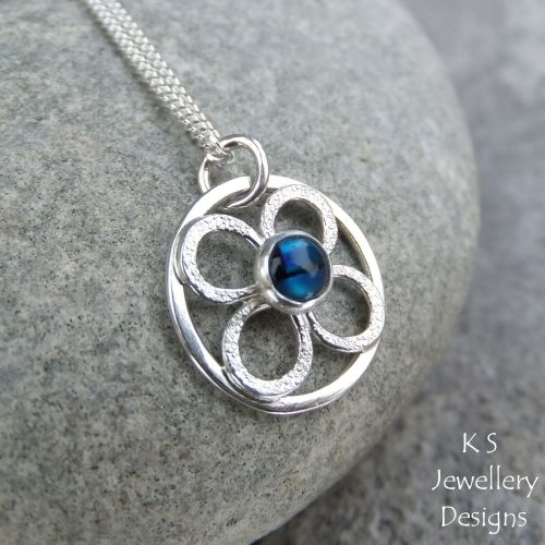 Abalone Little Flower Sterling Silver Circle Pendant