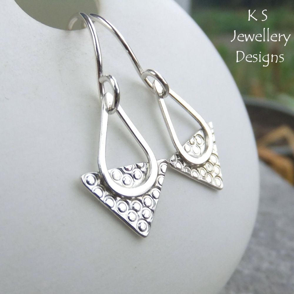 Textured Triangle Sterling Silver Drop Earrings - CIRCLES