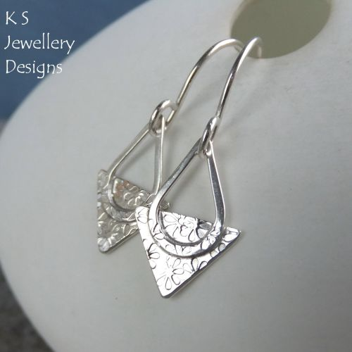Textured Triangle Sterling Silver Drop Earrings - FLOWERS