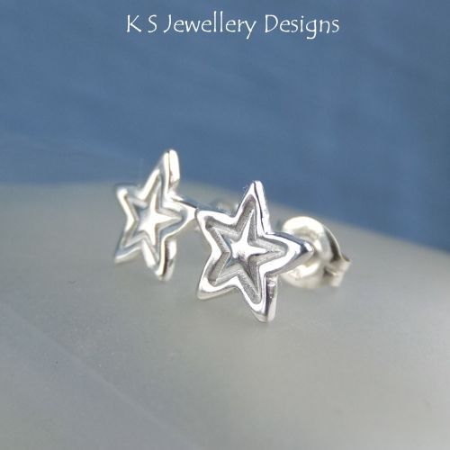 Sterling Silver Stud Earrings - Stamped Stars