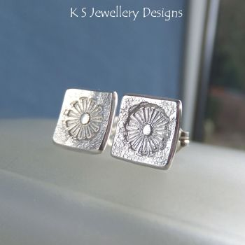 Sterling Silver Stud Earrings - Stamped Flower Squares #4
