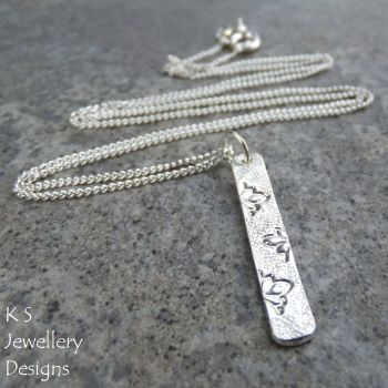 Petals Textured Sterling Silver Bar Pendant