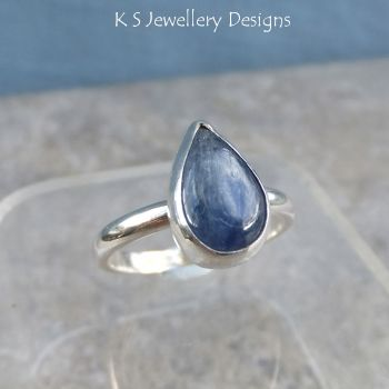 Kyanite Sterling Silver Teardrop Gemstone Ring (UK size P / US size 7.75)