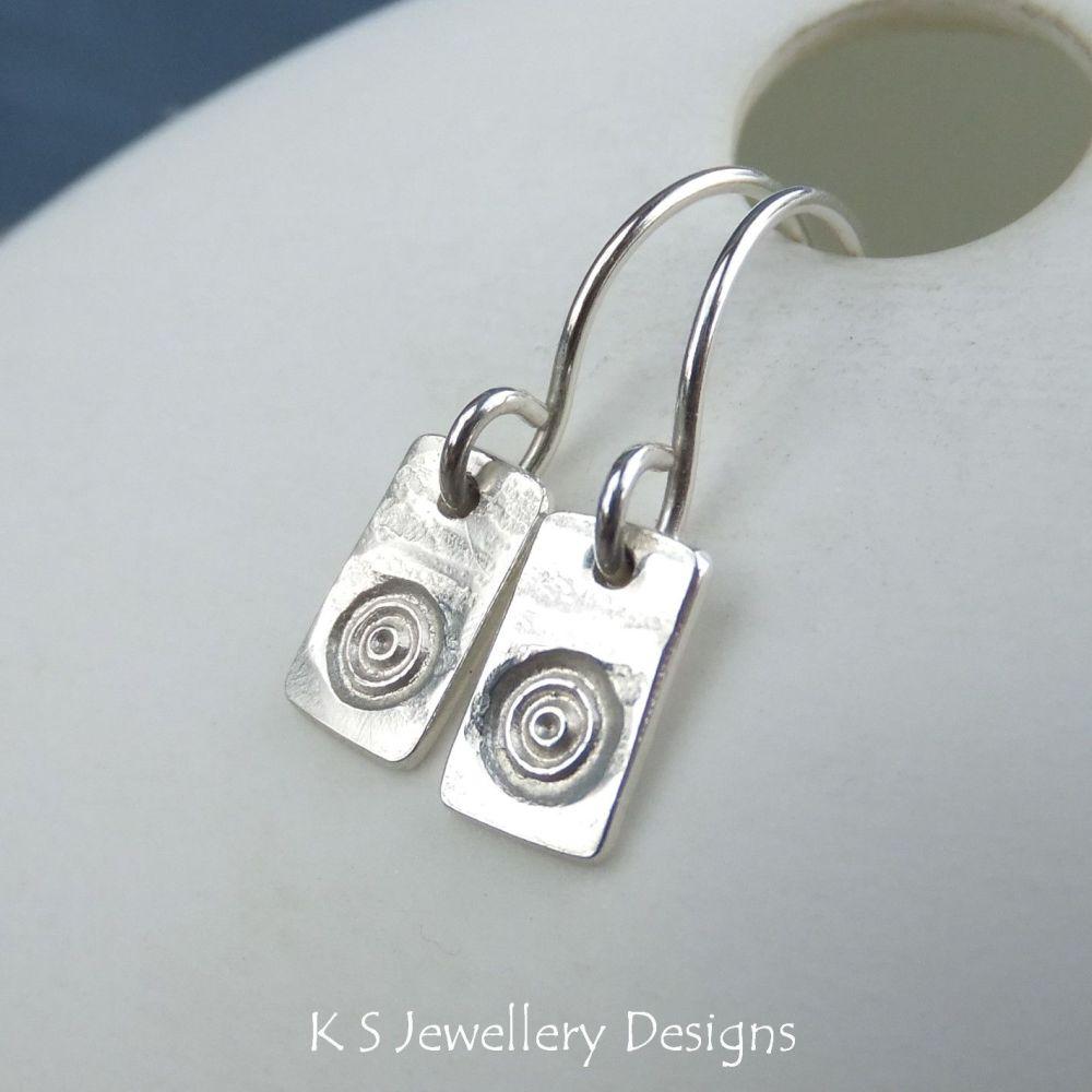 Circles & Bark Textured Sterling Silver Bar Earrings
