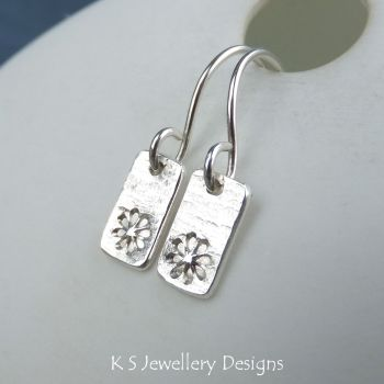 Daisies & Bark Textured Sterling Silver Bar Earrings