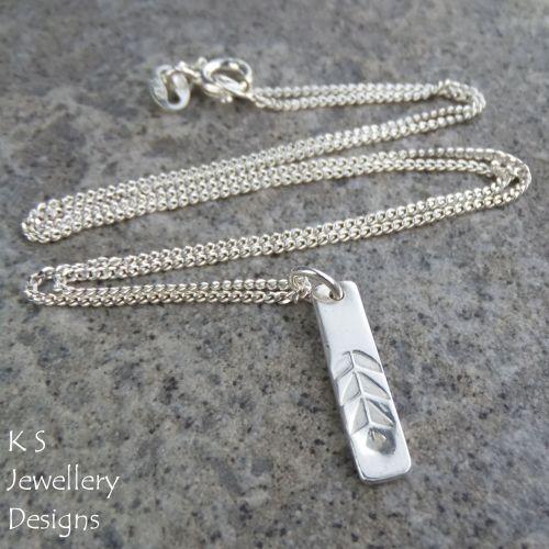 Leaf Textured Sterling Silver Bar Pendant