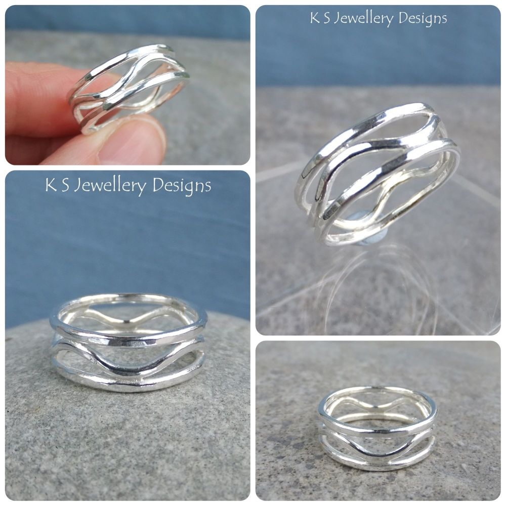Hammered Waves Fine Silver Ring (UK size P1/2 / US size 8)