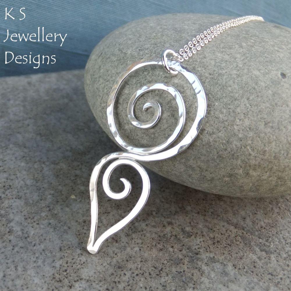 Hammered Spiral Circle & Teardrop Sterling Silver Pendant