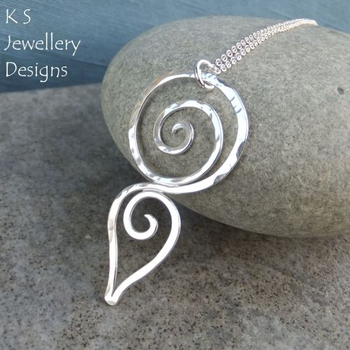 Hammered Spiral Circle & Teardrop Sterling Silver Pendant