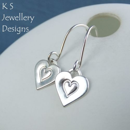 Stamped Heart Dangly Sterling Silver Earrings