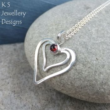 Garnet Double Wire Heart Sterling Silver Pendant
