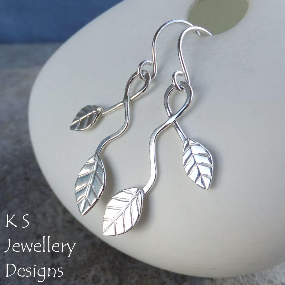 Winding Leaves Sterling Silver Dangly Earrings V1