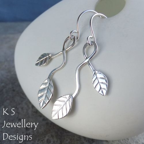 Winding Leaves Sterling Silver Dangly Earrings V1