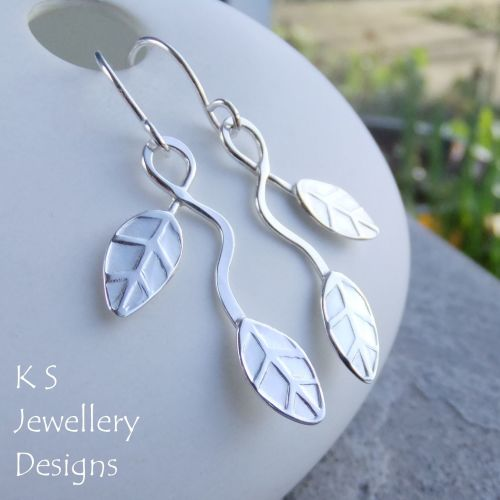 Winding Leaves Sterling Silver Dangly Earrings V2