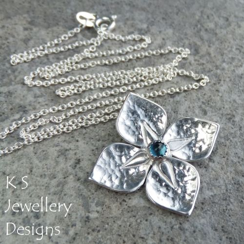 London Blue Topaz Dappled Flower Sterling Silver Pendant - Four Petals