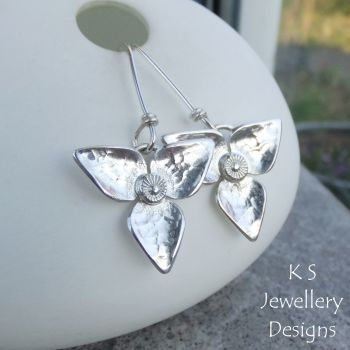 Dappled Flower Earrings - THREE PETALS - Sterling Silver Dangly Earrings