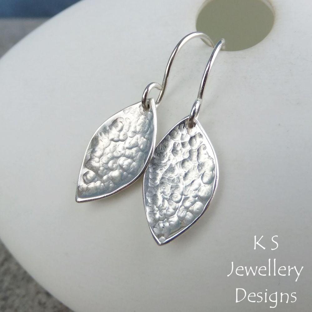 Dappled Petal Drop Earrings - PETAL DROPS - Sterling Silver Dangly Earrings