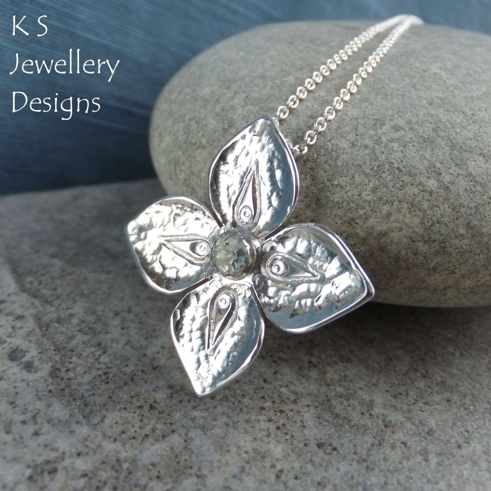 Green Amethyst Dappled Flower Sterling Silver Pendant - Four Petals