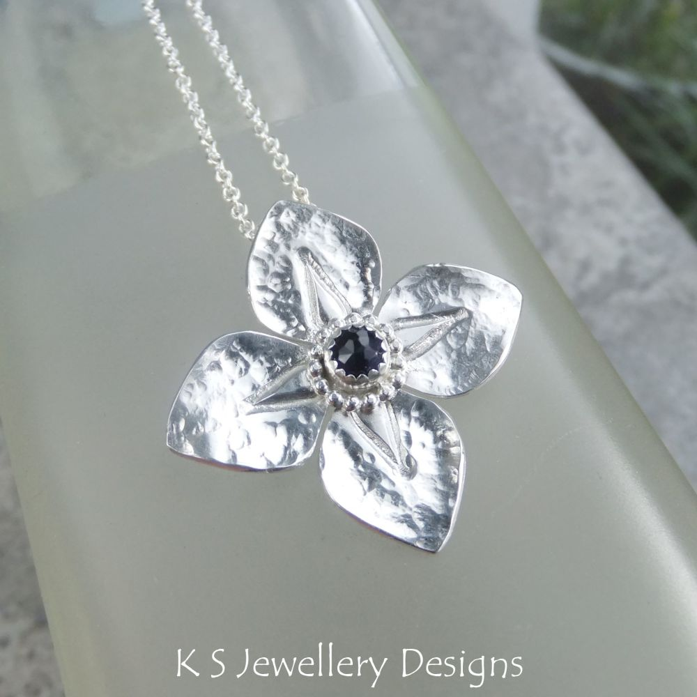Iolite Dappled Flower Sterling Silver Pendant - Four Petals