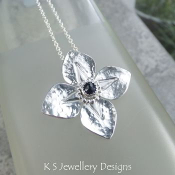 *SALE was £60* Iolite Dappled Flower Sterling Silver Pendant - Four Petals