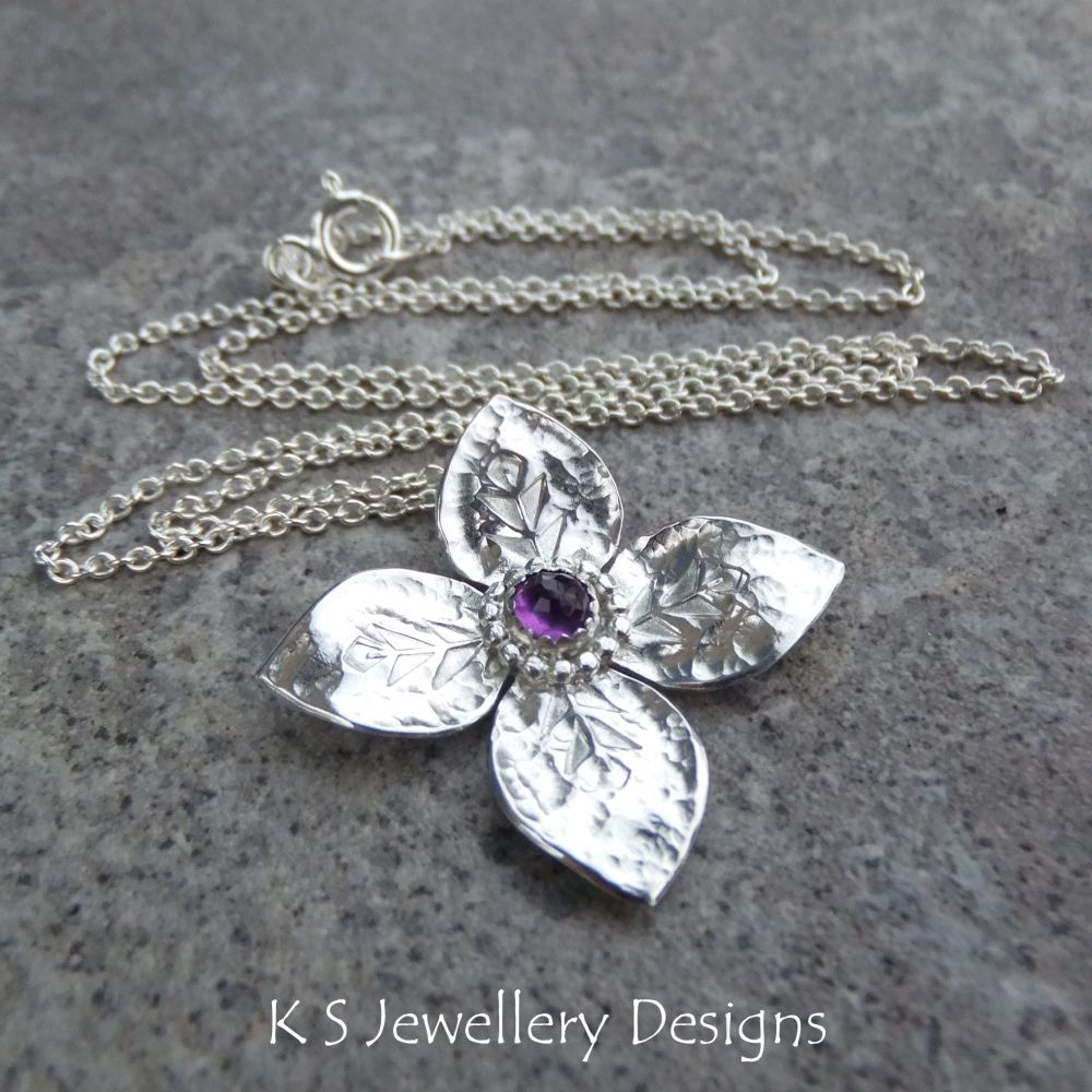 Amethyst Dappled Flower Sterling Silver Pendant - Four Petals