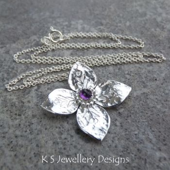 Amethyst Dappled Flower Sterling Silver Pendant - Four Petals