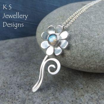 Labradorite Daisy Flower & Swirl Sterling Silver Pendant