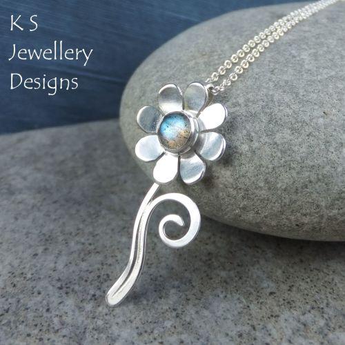 Labradorite Daisy Flower & Swirls Sterling Silver Pendant