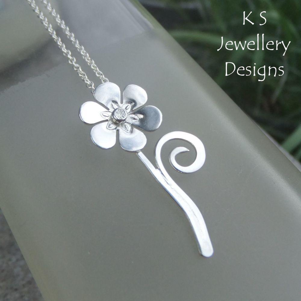 Shiny Flower & Swirl Sterling Silver Pendant