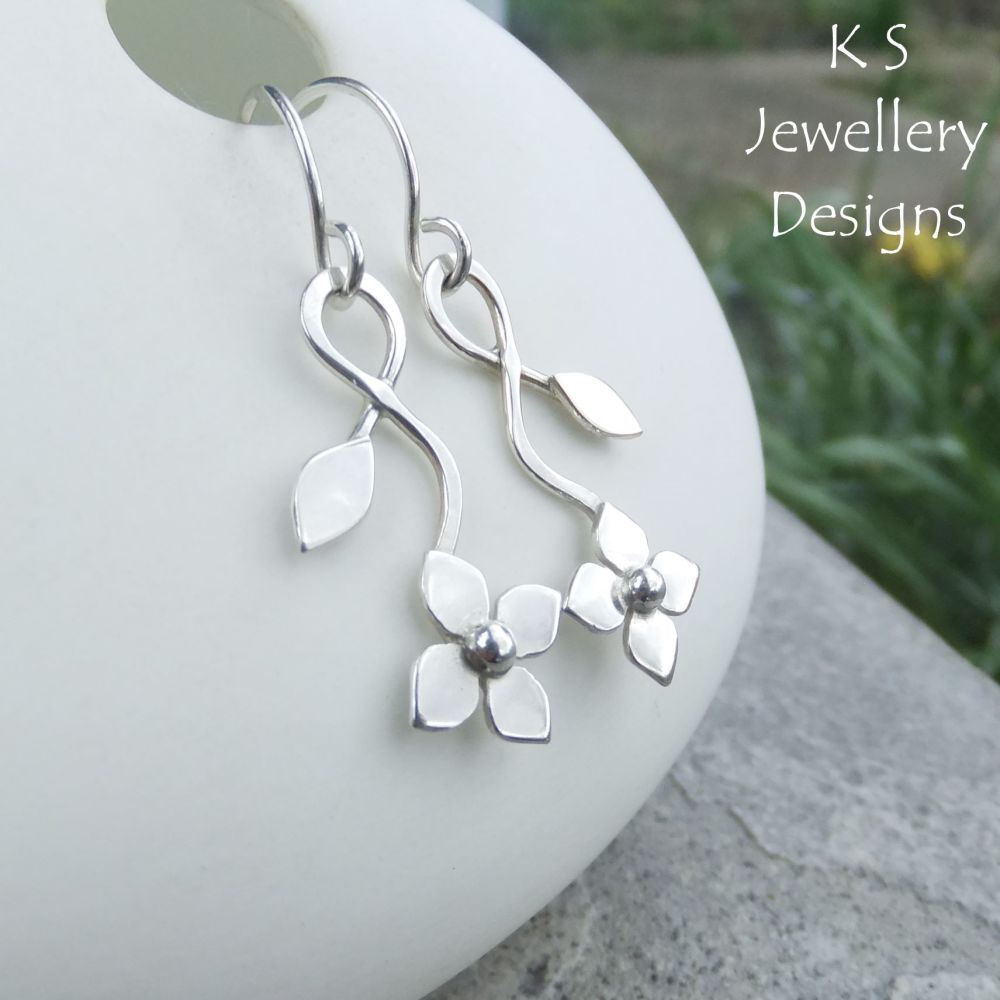 Flower and Leaf Sterling Silver Dangly Earrings