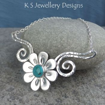 Turquoise Daisy Flower and Dappled Swirls Necklace