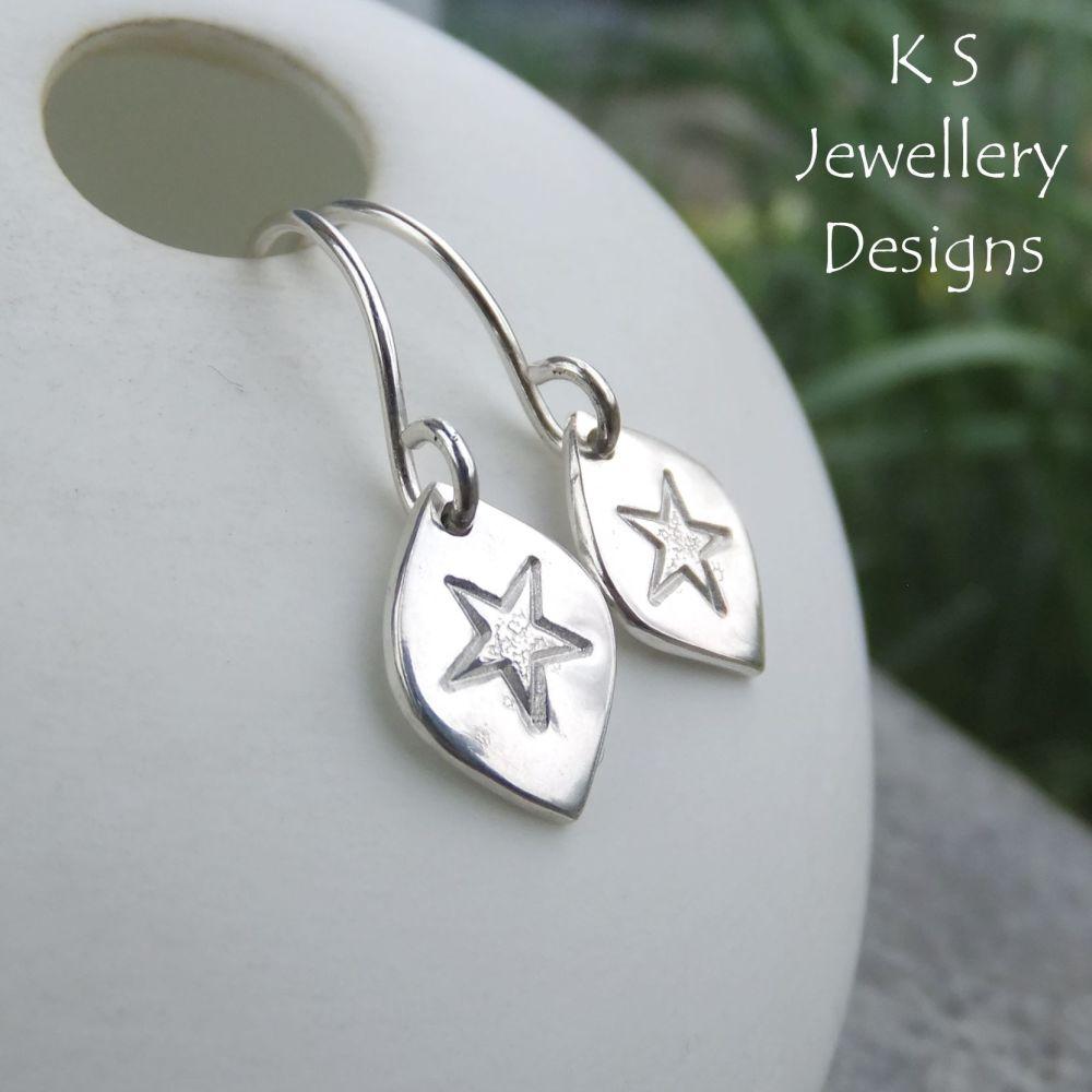 Stamped Star Drops Sterling Silver Earrings