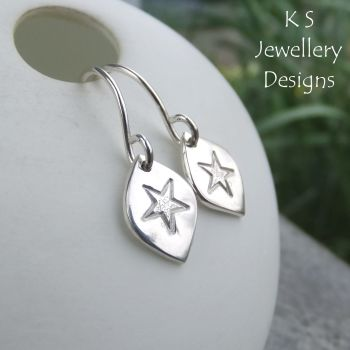 Stamped Star Drops Sterling Silver Earrings