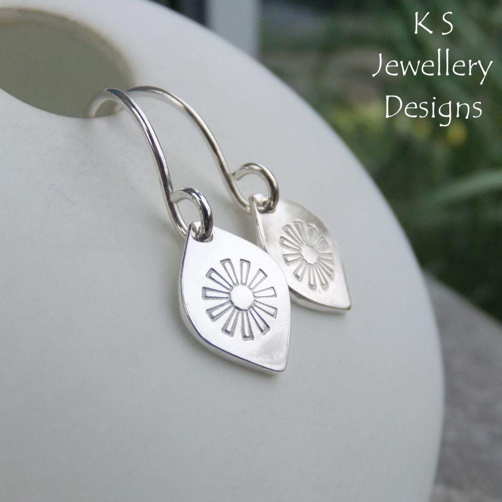 Stamped Daisy Flower Drops Sterling Silver Earrings