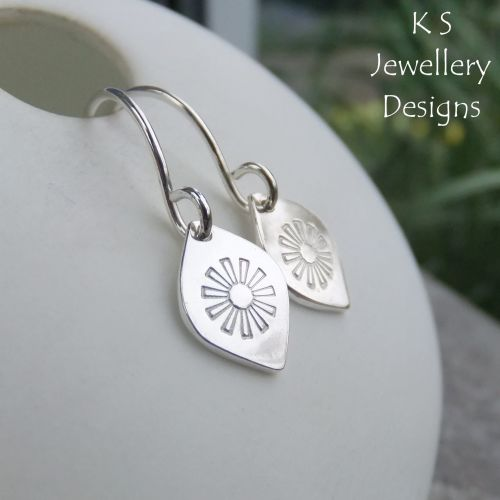 Stamped Daisy Flower Drops Sterling Silver Earrings
