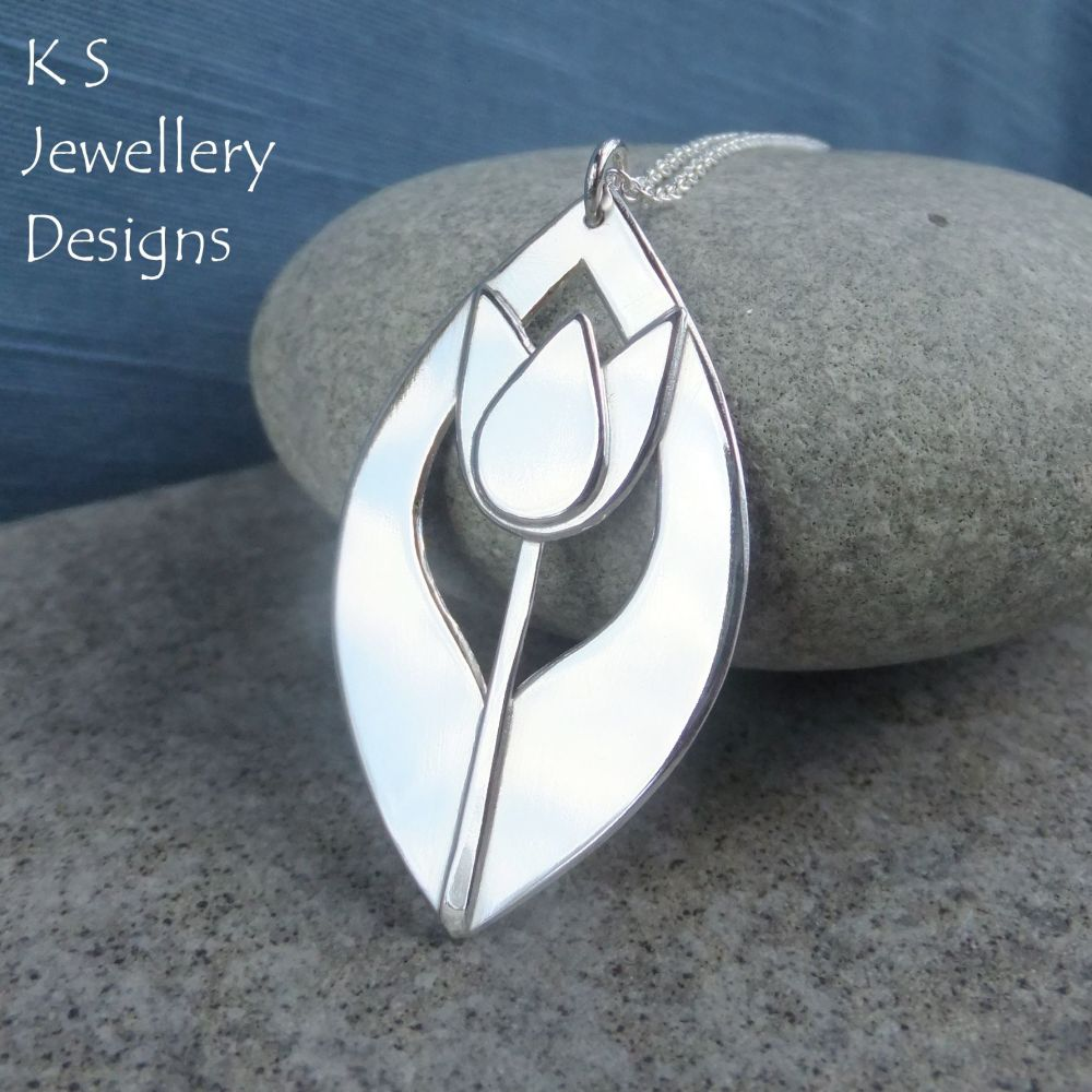 Shiny Tulip Drop Sterling Silver Pendant - Flower Necklace