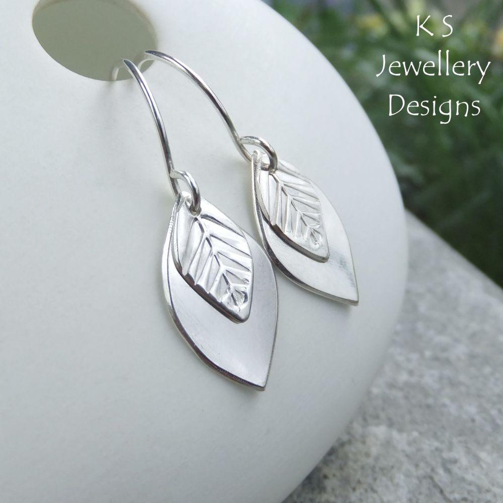 Double Leaf Drop Earrings - LEAVES - Sterling Silver Dangly Earrings
