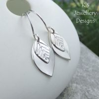 Double Leaf Drop Earrings - LEAVES - Sterling Silver Dangly Earrings