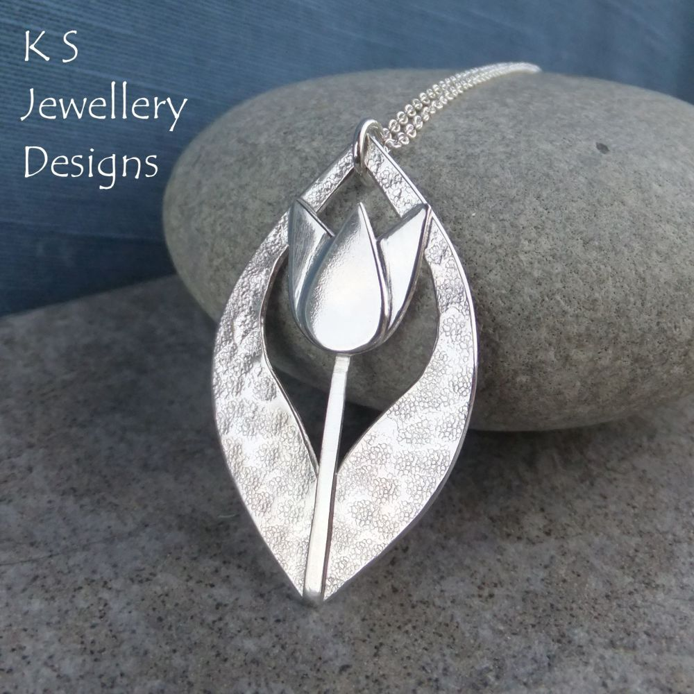 Textured Tulip Drop Sterling Silver Pendant - Flower Necklace