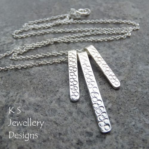 Bubbles Textured Bars Sterling Silver Necklace