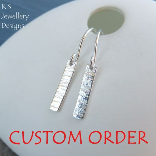 CUSTOM ORDER - Bark Textured Sterling Silver Bar Earrings