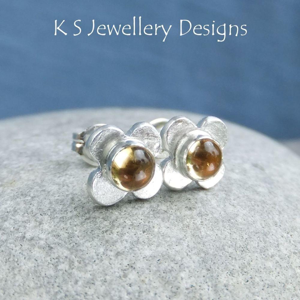 Citrine Rustic Flowers - Sterling Silver Stud Earrings