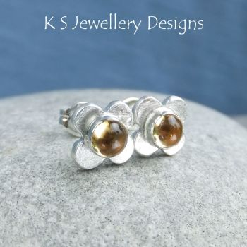 Citrine Rustic Flowers - Sterling Silver Stud Earrings
