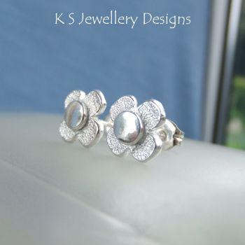 Rustic Flowers - TEXTURED - Sterling Silver Stud Earrings