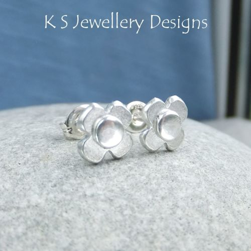 Rustic Flowers - BRUSHED - Sterling Silver Stud Earrings