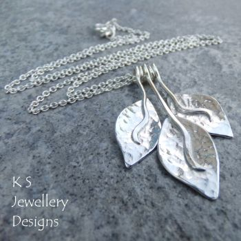 Dappled Petal Trio Sterling Silver Necklace