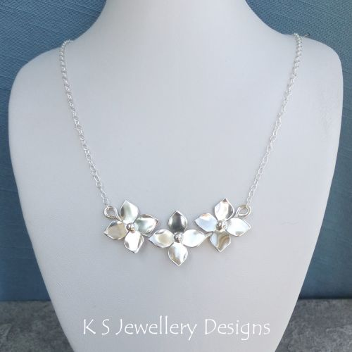 Shiny Flower Trio Sterling Silver Necklace