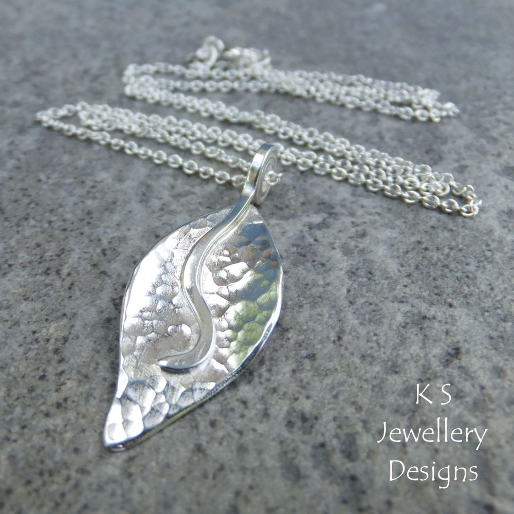 Dappled Petal Sterling Silver Pendant - Version 2