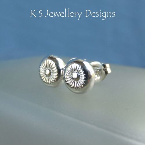 Flower Textured Pebbles Studs #2 - Sterling Silver Stud Earrings